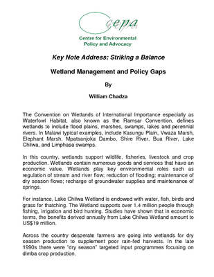 Striking a Balance - Wetland Management and Policy Gaps