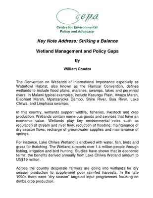 Wetlands Key Note Address