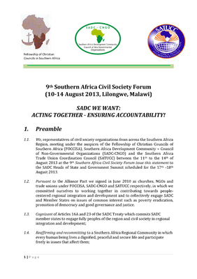 9th Southern Africa Civil Society Forum- Acting Together Ensuring Accountability