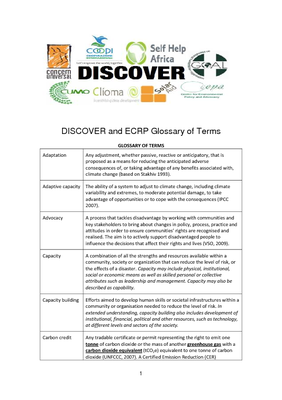DISCOVER and ECRP Glossary of Terms