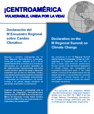 Declaration on the III Regional Summit on Climate Change