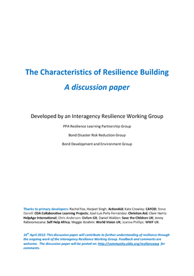 The Characteristics of Resilience Building