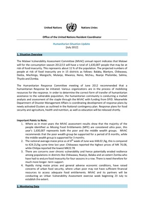UN Humanitarian Situation Update - July 2012