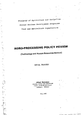Agro-Processing Policy Review 2002