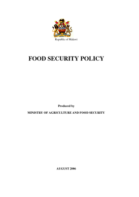 Food Security Policy 2006