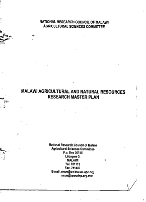 Malawi Agricultural and Natural Resources Research Master Plan 1999