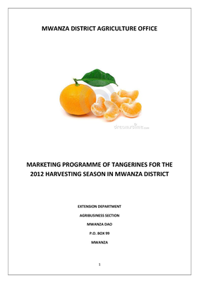 Marketing Programme of Tangerines  for the 2012 Harvesting Season in Mwanza District