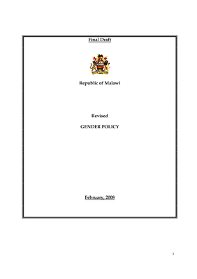 National Gender Policy 2008