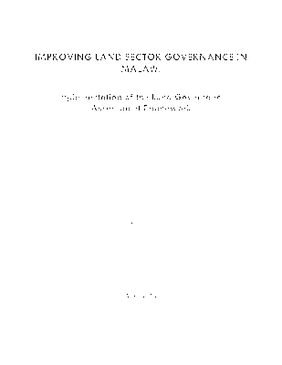 Improving Land Sector Governance in Malawi - Implementation of the Land Governance Assessment Framework