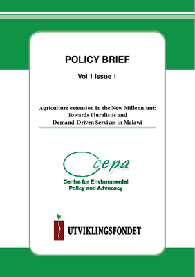 Policy Brief on Agriculture Extension in the New Millennium-Towards Pluralistic and Demand Driven Services in Malawi