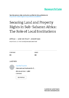 Securing Land and Property Rights in Sub-Saharan Africa: