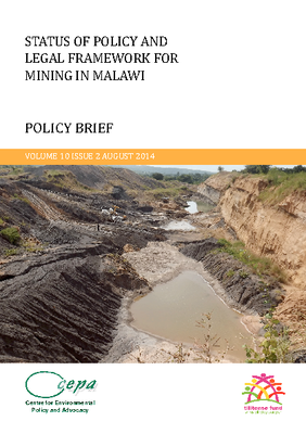Status of Policy and Legal Framework for Mining in Malawi